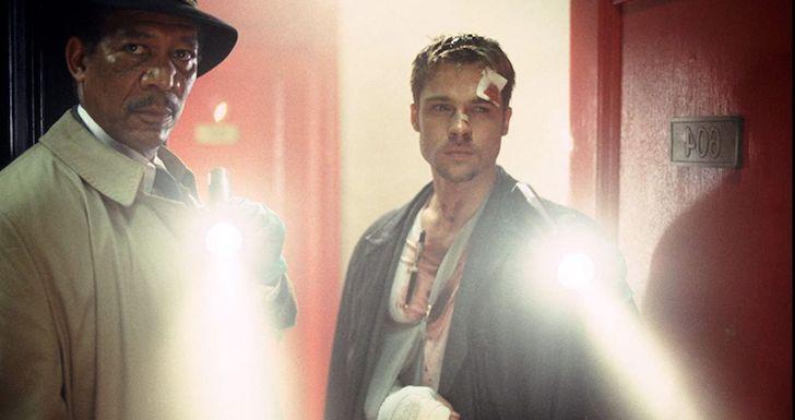 """Morgan Freeman e Brad Pitt em """"Seven - 7 Pecados Mortais"""" (1995) © New Line Cinema"""